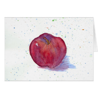 Red Delicious Apple Fruit Watercolor Art Blank Card