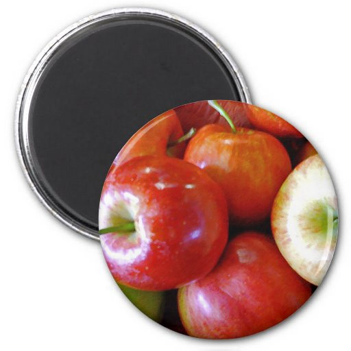 Red Delicious Apples 2 Inch Round Magnet
