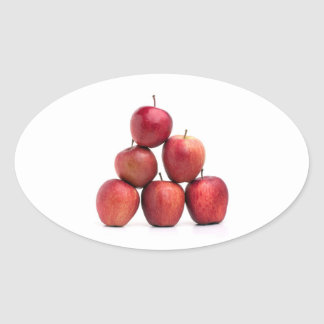 Red Delicious Apples Pyramid Oval Sticker