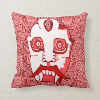 Red Demon Head Throw Pillow