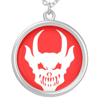 Red Demon Talisman Silver Plated Necklace