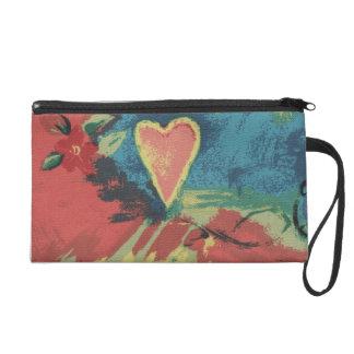 Red Denim Heart Wristlet Bagettes Bag