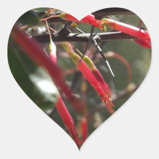 Red Desert Flower Petals Heart Sticker