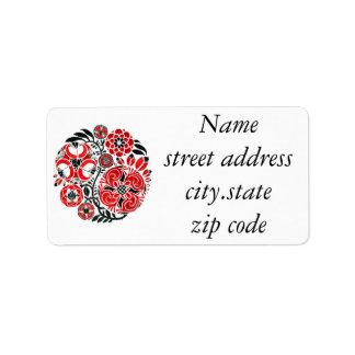 Red Design Address Label