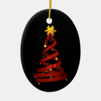 Red design pine and golden balls Double-Sided oval ceramic christmas ornament