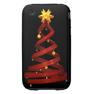 Red design pine and golden balls tough iPhone 3 case