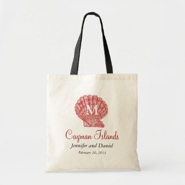 Beach Themed Red Destination Wedding Tote Bags Caribbean