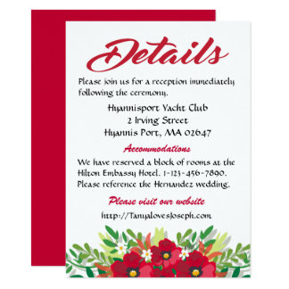 Red Details Directions Burgundy Flowers Wedding Card