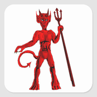 Red devil And Pitch Fork Square Sticker