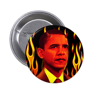 Red Devil Barack Obama The Anti-Christ 2 Inch Round Button