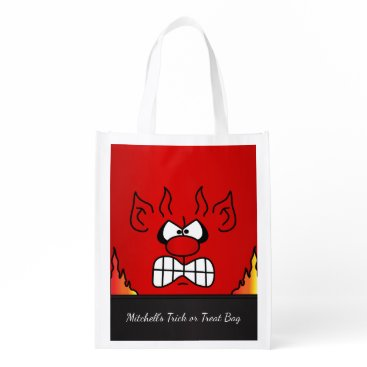 Halloween Themed Red Devil Face Grocery Bag
