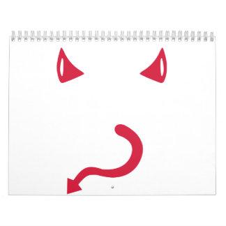 Red devil horns tail calendar