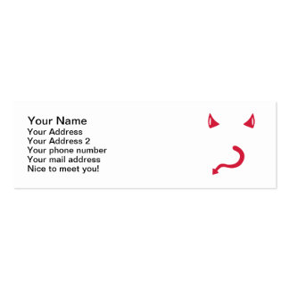 Red devil horns tail mini business card