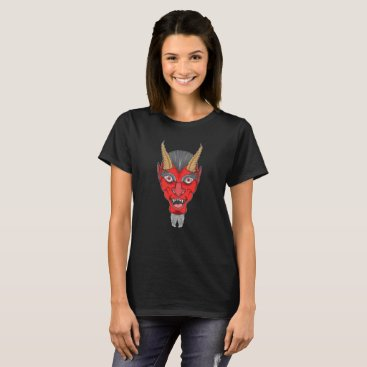Halloween Themed Red Devil Illustration T-Shirt