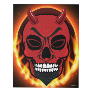 Red Devil Skull Skeleton with fire and flames art