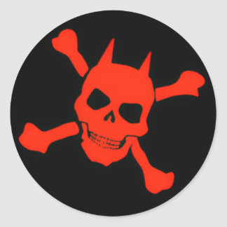 Red Devil Skull Sticker