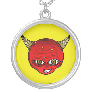Red Devil With Horns Evil Grin Round Pendant Necklace