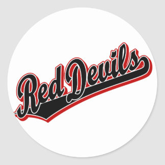 Red Devils in Black and Red Classic Round Sticker