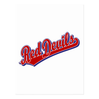 Red Devils in Red and Blue Postcard