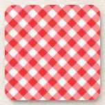 Red, diagonal gingham pattern beverage coasters