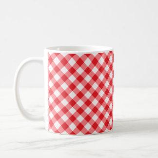 Red, diagonal gingham pattern coffee mug