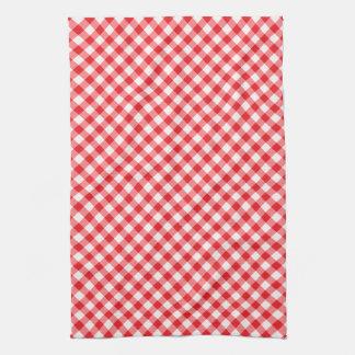Red, diagonal gingham pattern towel