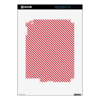 Red Diagonal Lines Decals For iPad 2