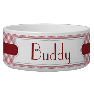Red Diagonal Plaid Personalized Pet Bowl