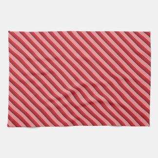 Red Diagonal Stripes Towel