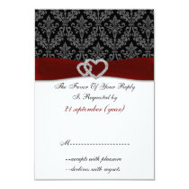 red diamante damask standard 3.5 x 5 wedding card