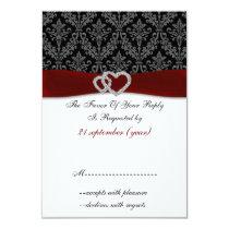 red diamante damask standard 3.5 x 5 wedding card
