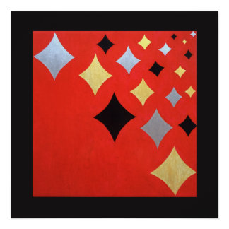 Red diamond abstract art poster
