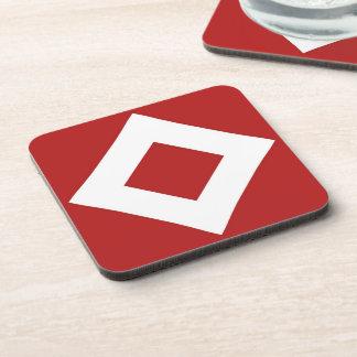 Red Diamond, Bold White Border Coaster