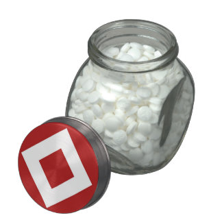 Red Diamond, Bold White Border Glass Candy Jar
