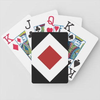 Red Diamond, Bold White Border on Black Bicycle Playing Cards