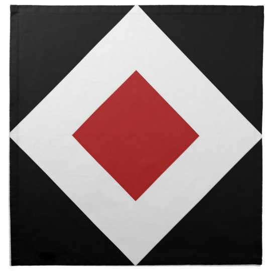 Red Diamond, Bold White Border on Black Cloth Napkin