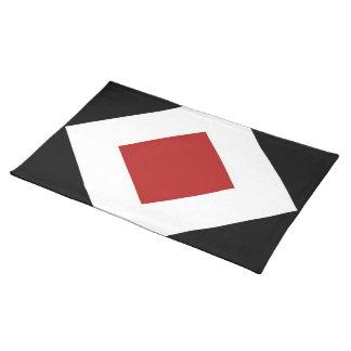 Red Diamond, Bold White Border on Black Cloth Placemat