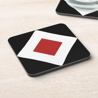 Red Diamond, Bold White Border on Black Coaster