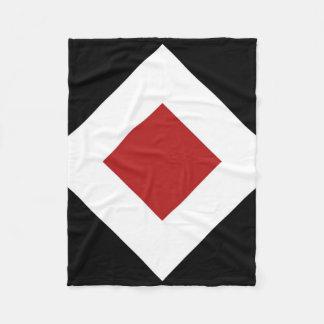 Red Diamond, Bold White Border on Black Fleece Blanket