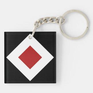 Red Diamond, Bold White Border on Black Keychain