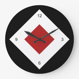 Red Diamond, Bold White Border on Black Large Clock