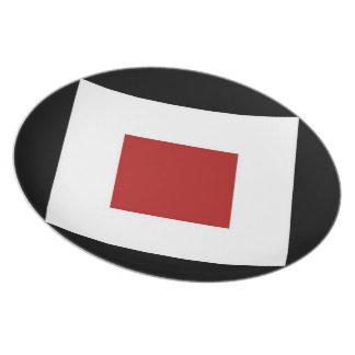Red Diamond, Bold White Border on Black Plate