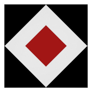 Red Diamond, Bold White Border on Black Poster
