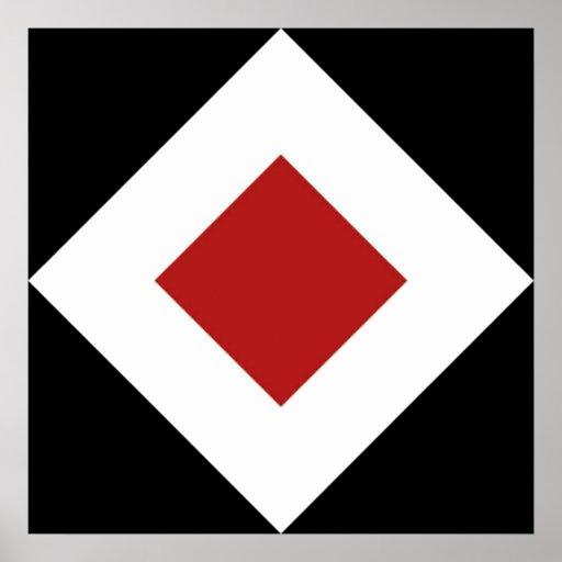 Red Diamond, Bold White Border on Black Poster