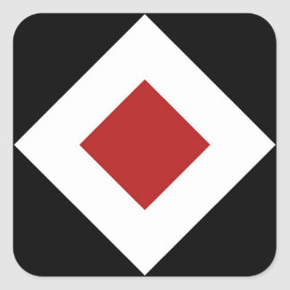 Red Diamond, Bold White Border on Black Square Sticker