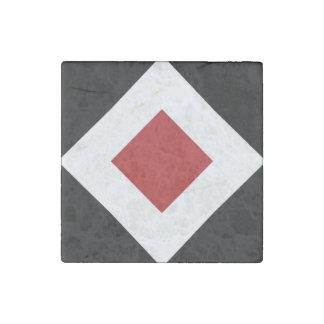Red Diamond, Bold White Border on Black Stone Magnet