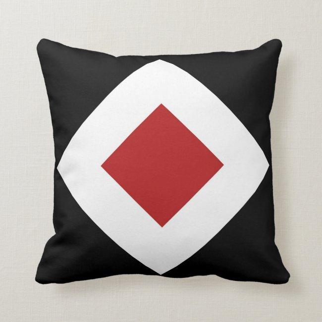 Red Diamond, Bold White Border on Black