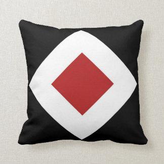 Red Diamond, Bold White Border on Black Throw Pillow