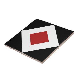 Red Diamond, Bold White Border on Black Tile
