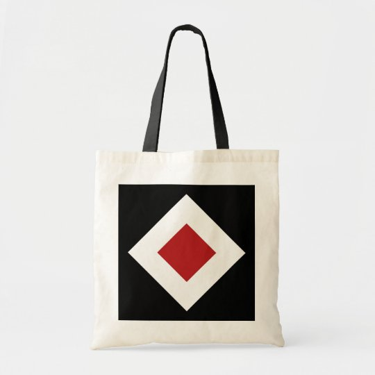 Red Diamond, Bold White Border on Black Tote Bag